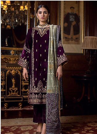 Gul Ahmed Embroidered Velvet Unstitched 3 Piece Suit GA19NC VLW 11 NAGINA - W...