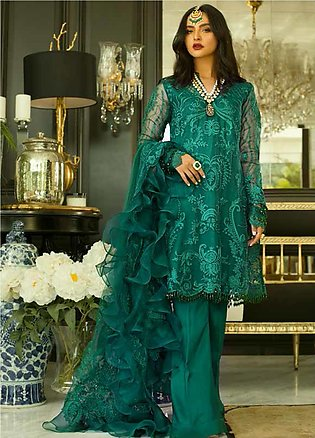 Mina Hasan Embroidered Organza Unstitched 3 Piece Suit MH20C 4 - Luxury Colle...