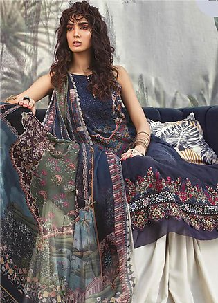 Maria B Embroidered Linen Unstitched 3 Piece Suit MBP19WE 704 A - Winter Coll...