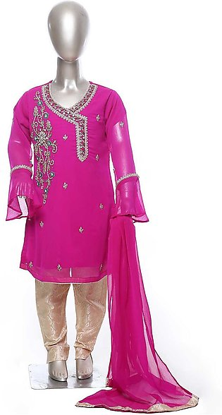 Sanaulla Exclusive Range Chiffon Formal Girls 3 Piece Suit - SU21KF K209 S Pink