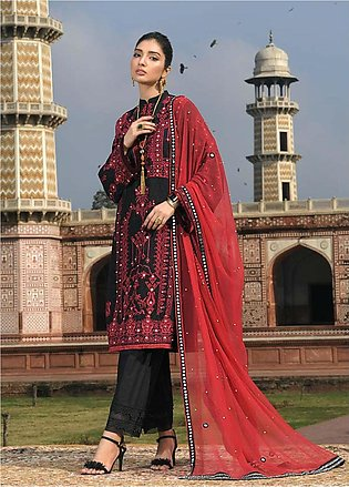 Asim Jofa Embroidered Lawn Unstitched 3 Piece Suit AJ20LL 11A - Luxury Collec...