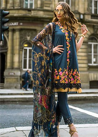 Mina Hasan Embroidered Lawn Unstitched 3 Piece Suit MH19F 1B - Festive Collec...