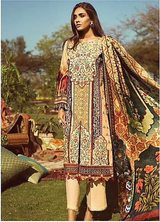 Jazmin by Baroque Embroidered Lawn Unstitched 3 Piece Suit JZ19L 01 MANDARIN ...