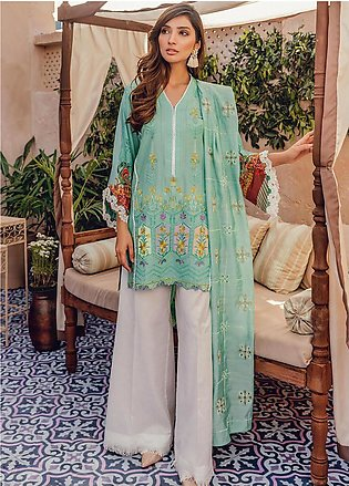 RajBari Embroidered Lawn Unstitched 3 Piece Suit RB20L 6-B - Luxury Collection