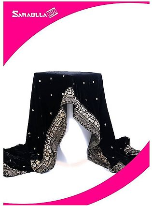 Black Embroidered Velvet Shawls for ladies - SWG 1002