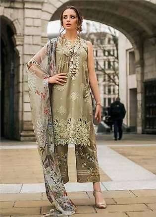 Mina Hasan Embroidered Lawn Unstitched 3 Piece Suit MH19F 8B - Festive Collec...
