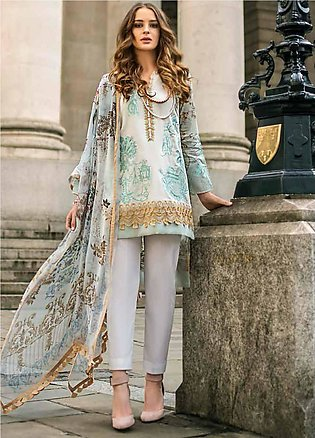 Mina Hasan Embroidered Lawn Unstitched 3 Piece Suit MH19F 5A - Festive Collec...