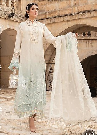 Maria B Embroidered Lawn Suits Unstitched 3 Piece MB21L 11-A - Summer Collection