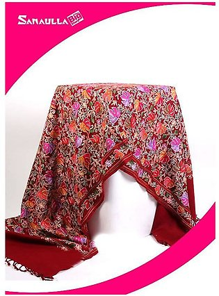 Maroon Embroidered Pashmina Shawls for ladies - SW 215