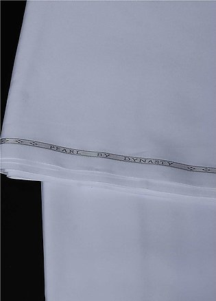 Dynasty Plain Egyptian Cotton Unstitched Fabric Pearl-White - Summer Collection