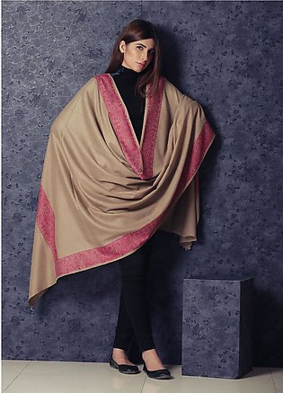 Sanaulla Exclusive Range Embroidered Pashmina Shawl 19-MIR-340 Brown - Kashmi...