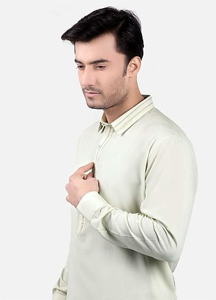 Edenrobe Cotton Formal Kurta Shalwar for Men - Cream EMTSW19S-9748