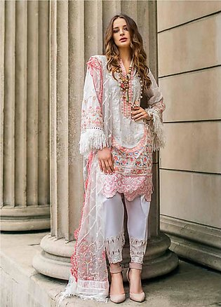 Mina Hasan Embroidered Lawn Unstitched 3 Piece Suit MH19F 4A - Festive Collec...