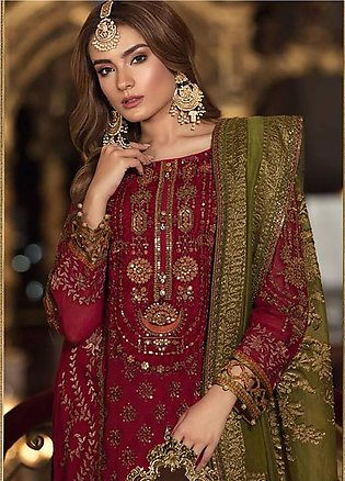 Maria B Embroidered Cotton Net Unstitched 3 Piece Suit MB18-W1 09 - Wedding C...