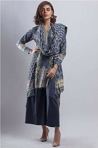 Zeen By Cambridge Embroidered Linen Unstitched 3 Piece Suit ED17W 377028
