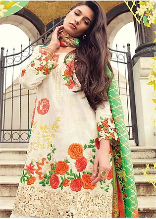 Mina Hasan Embroidered Lawn Unstitched 3 Piece Suit MH18L 1A - Festive Collec...