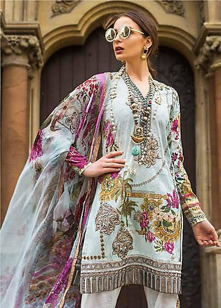 Mina Hasan Embroidered Lawn Unstitched 3 Piece Suit MH19F 2B - Festive Collec...