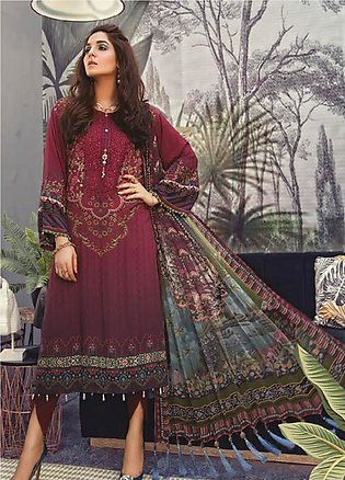 Maria B Embroidered Linen Unstitched 3 Piece Suit MBP19WE 704 B - Winter Coll...