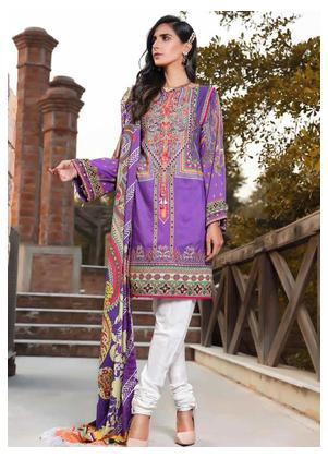 AMAL by Motifz Embroidered Linen Unstitched 3 Piece Suit AMT19LK 2401 Amethyst - Winter Collection