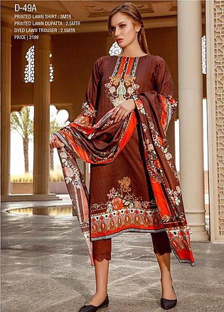 Ittehad Textiles Printed Lawn Unstitched 3 Piece Suit ITD20CS 49A - Summer Co...