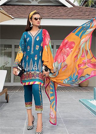 Zainab Chottani Embroidered Lawn Unstitched 3 Piece Suit ZC20LL 5A - Luxury C...