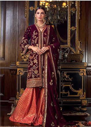 Gul Ahmed Embroidered Velvet Unstitched 3 Piece Suit GA19NC VLW 12 KUNDUN - W...