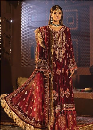 Maria B Embroidered Velvet Unstitched 3 Piece Suit MB19WE 1807 - Wedding Coll...