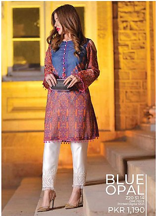 Tarzz Printed Lawn Unstitched Kurties TZ20SL Z20 14 - Summer Collection