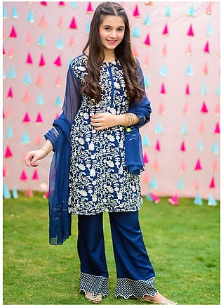 Ochre Chiffon Fancy Girls 3 Piece - OFW-296 Ageen Blue