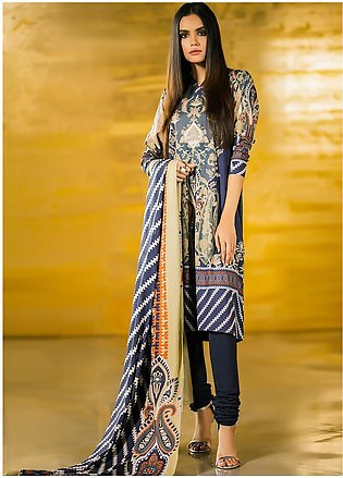 Al Karam Printed Viscose Unstitched 3 Piece Suit AK19W FW-08-19 Blue - Winter...