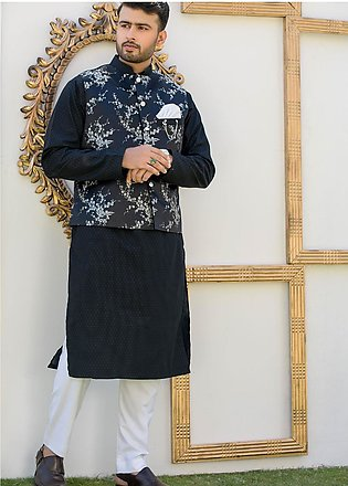 Chic Ophicial Cotton Formal Kurta Pajama with Waistcoat for Men - CH01 Silver...