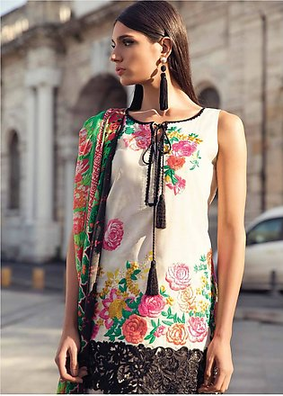 Mina Hasan Embroidered Lawn Unstitched 3 Piece Suit MH18L 1B - Festive Collec...