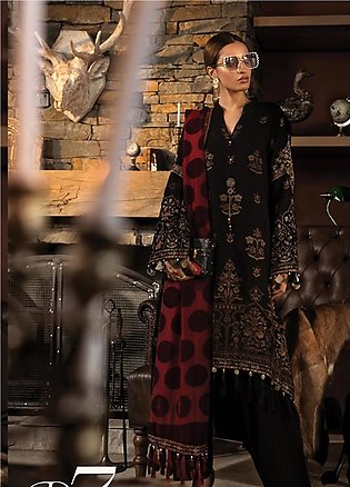 Maria B Embroidered Linen Unstitched 3 Piece Suit MB19W 7 - Winter Collection