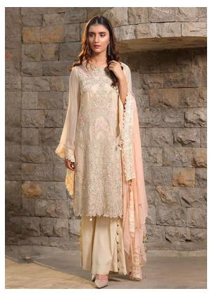 Motifz Embroidered Bemberg Chiffon Unstitched 3 Piece Suit MTF19-C4 2290 Soft Shell - Luxury Collection