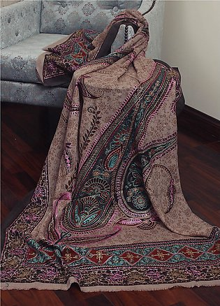 Sanaulla Exclusive Range Resham Embroidered Pashmina Shawl 19-MIR-293 Mutli -...