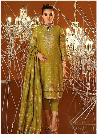 Al Karam Embroidered Jacquard Unstitched 3 Piece Suit AK20F-2 FC-03A-20 GREEN...