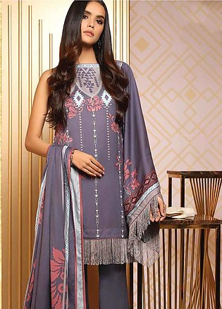 Al Karam Printed Viscose Unstitched 3 Piece Suit AK19W FW-21-19 Grey - Winter...