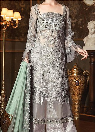 Maria B Embroidered Zari Net Unstitched 3 Piece Suit MB20WD 05 - Wedding Collec…