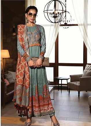 Maria B Embroidered Velvet Unstitched 3 Piece Suit MB19W 8 - Winter Collection