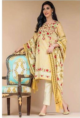 Zeen By Cambridge Embroidered Linen Unstitched 3 Piece Suit ED17W 377021