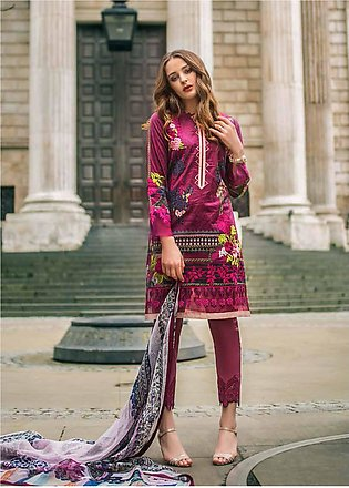 Mina Hasan Embroidered Lawn Unstitched 3 Piece Suit MH19F 6A - Festive Collec...