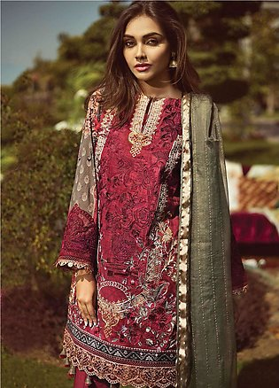 Jazmin by Baroque Embroidered Lawn Unstitched 3 Piece Suit JZ19L 03 SALVIA RO...