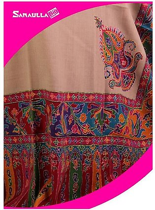 Beige Embroidered Pashmina Shawls for women - SW 210