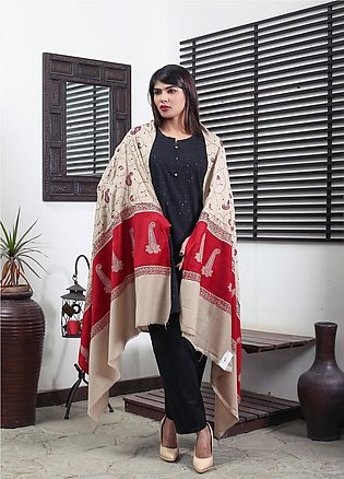 Sanaulla Exclusive Range Embroidered Pashmina Shawl 19-AKP-50 Fawn - Kashmiri...