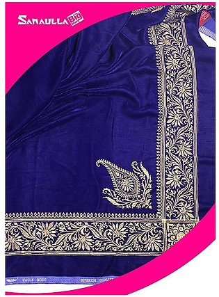 Blue Embroidered Velvet Shawls for ladies - SW 232