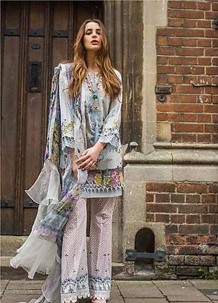 Mina Hasan Embroidered Lawn Unstitched 3 Piece Suit MH19F 7B - Festive Collec...
