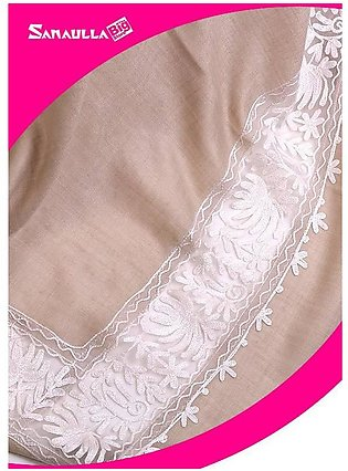 Beige Embroidered Pashmina Shawls for women - SW 222