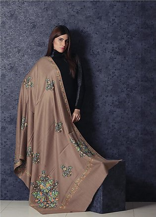 Sanaulla Exclusive Range Embroidered Pashmina Shawl 19-001 - Kashmiri Shawls