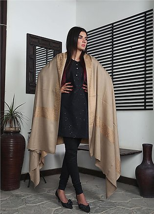 Sanaulla Exclusive Range Embroidered Pashmina Shawl 19-MIR-336 Brown - Kashmi...