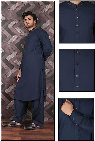 Aizaz Zafar Wash N Wear Formal Men Shalwar Kameez - 685 Navy Blue